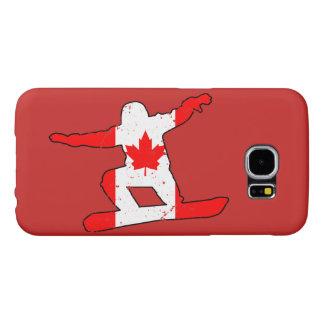 Maple Leaf SNOWBOARDER (blk) Samsung Galaxy S6 Cases