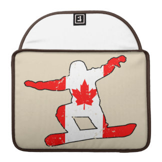 Maple Leaf SNOWBOARDER (blk) Sleeve For MacBook Pro