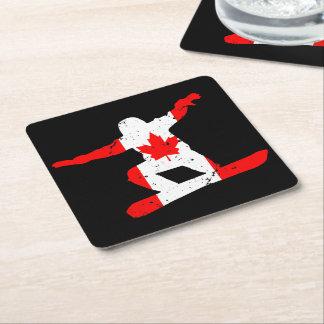 Maple Leaf SNOWBOARDER (blk) Square Paper Coaster