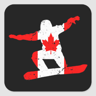 Maple Leaf SNOWBOARDER (blk) Square Sticker