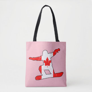 Maple Leaf SNOWBOARDER (blk) Tote Bag