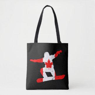 Maple Leaf SNOWBOARDER (blk) Tote Bag