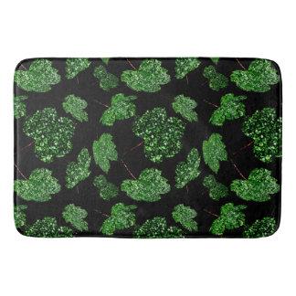 Maple Leaf Tropical Cali Green Botanical Black Bath Mat