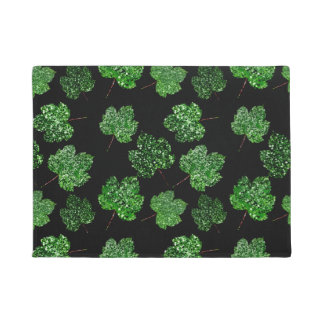 Maple Leaf Tropical Green Black Botanical Wellness Doormat
