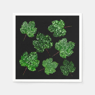 Maple Leaf Tropical Green Black Botanical Wellness Paper Napkins