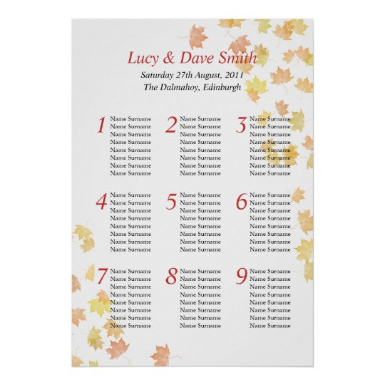 Maple Leaf Wedding Table Seating Plan Poster