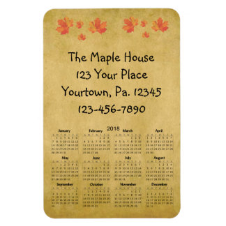 Maple Leaves 2018 Business Calendar 4x6 Magnet