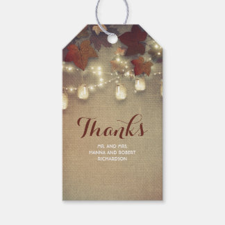 Maple Leaves and Mason Jars Fall Wedding Pack Of Gift Tags