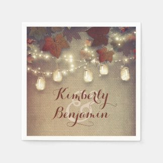 Maple Leaves and Mason Jars Fall Wedding Paper Napkin