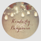Maple Leaves and Rustic Mason Jar Lights Wedding Classic Round Sticker