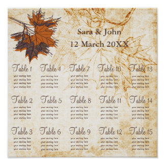 maple leaves Fall Rustic wedding Seating Chart Poster