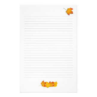 Maple Leaves Fall Theme, Lined Writing Paper