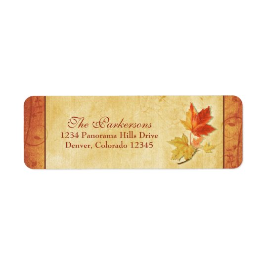 Maple Leaves Fall Wedding Return Address Labels
