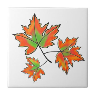 Maple Leaves- green and orange Tile