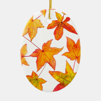 Maple leaves in autumn colors ceramic oval ornament