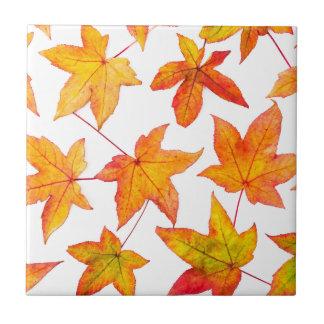 Maple leaves in autumn colors ceramic tiles