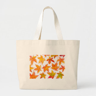 Maple leaves in autumn colors large tote bag