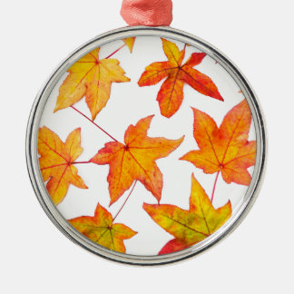 Maple leaves in autumn colors Silver-Colored round ornament