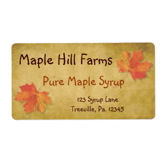 Maple Leaves Maple Syrup Product Label Shipping Label