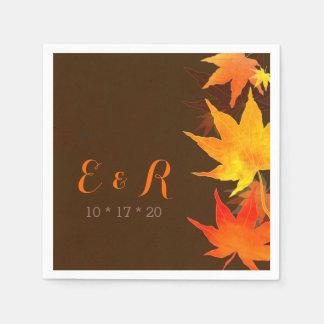 Maple Leaves + Monograms Brown Wedding Disposable Napkin