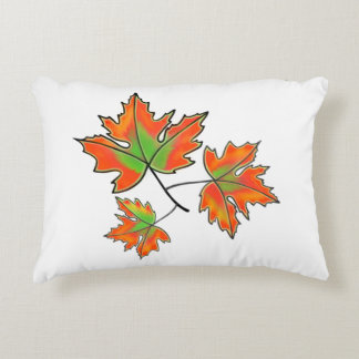 Maple Leaves -orange and green Accent Pillow