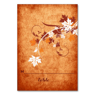 Maple leaves orange fall wedding folded place card table card