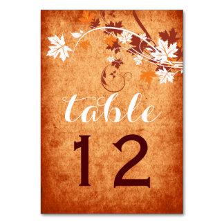Maple leaves orange fall wedding table number
