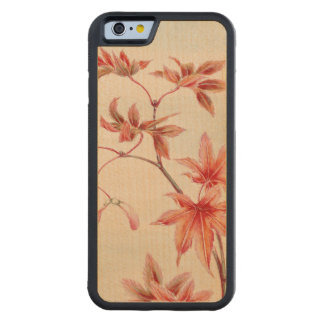 Maple leaves (Vintage Japanese print) Carved Maple iPhone 6 Bumper Case