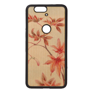 Maple leaves (Vintage Japanese print) Wood Nexus 6P Case