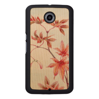 Maple leaves (Vintage Japanese print) Wood Phone Case