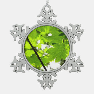Maple Leaves with Raindrops Snowflake Pewter Christmas Ornament