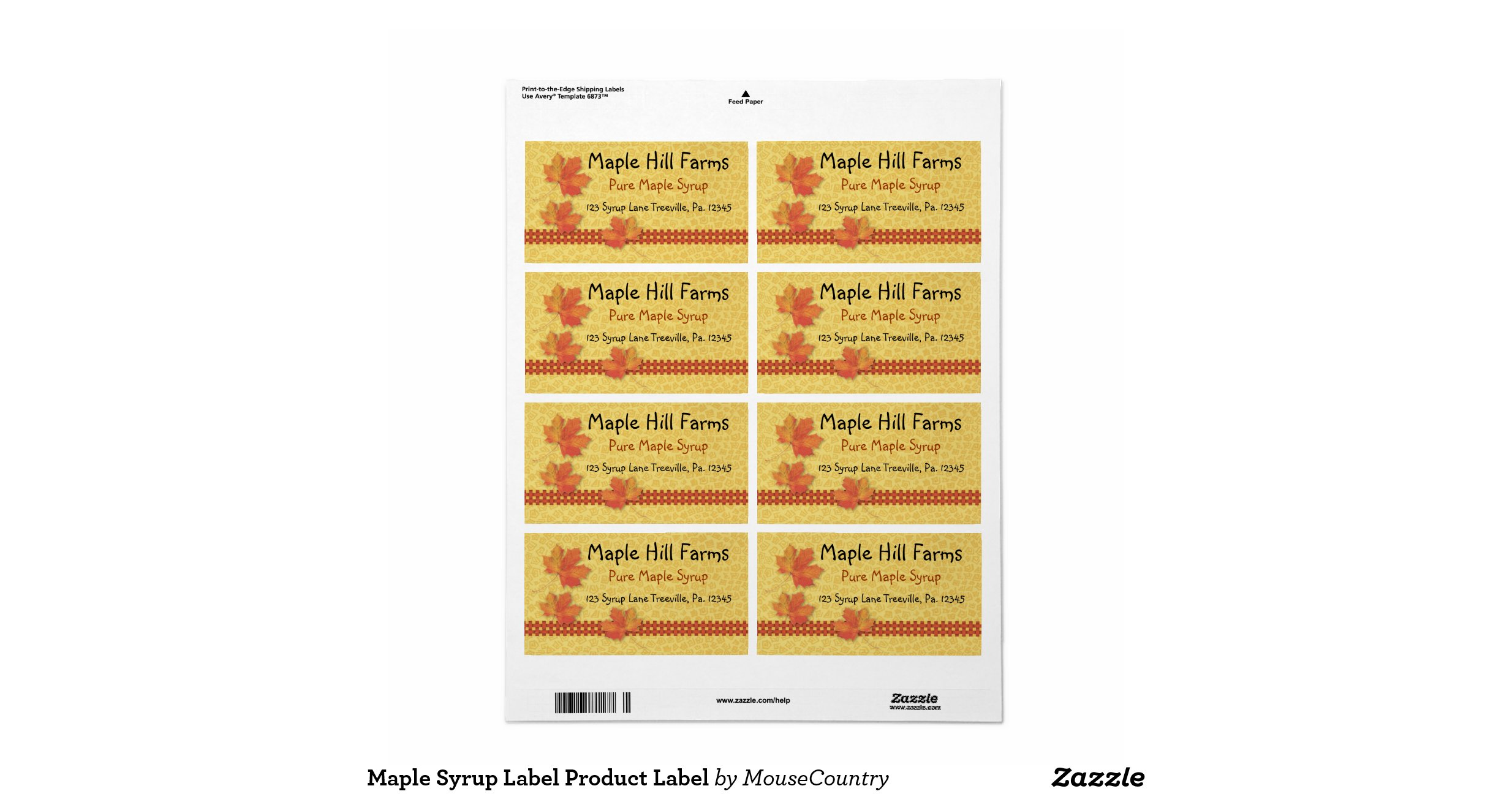 Maple Syrup Label Shipping Label | Zazzle