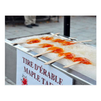 Maple Taffy Tire D'Erable Quebec Canada Postcard