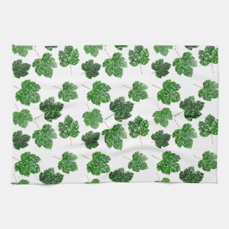 Maple Tropical Cali Green Leaf Nature White Wood Kitchen Towel