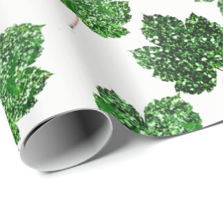 Maple Tropical Cali Green Leaf Nature White Wood Wrapping Paper