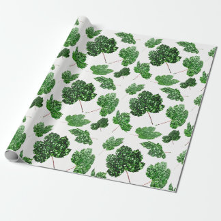 Maple Tropical Cali Green Leaf Nature White Woodla Wrapping Paper