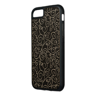 Maple Wood Scrolling Curves on Black Carved iPhone 7 Case