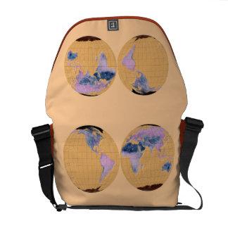 MapRef Bag World map 5 Mandarin - medium size Messenger Bags