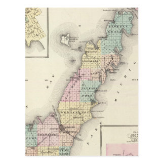 Maps of Door County, Sturgeon Bay and Jenny Postcard