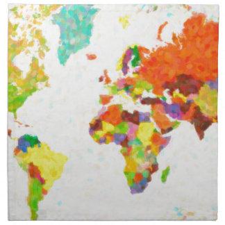 maps pointilism World Map Napkin