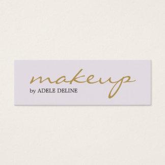 Maquilleur chic minimaliste de blanc d'or mini carte de visite