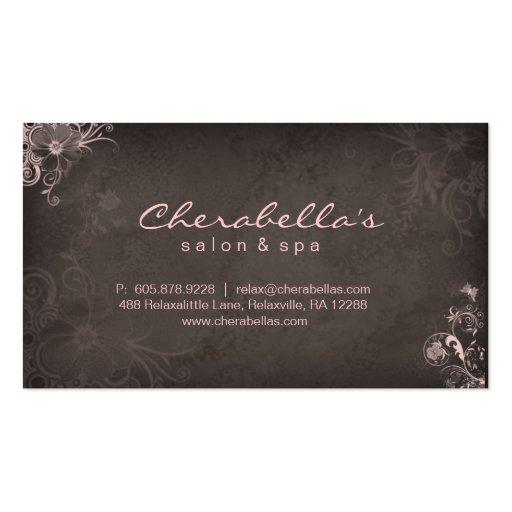 Maquilleur élégant élégant Brown rose floral Cartes De Visite Professionnelles