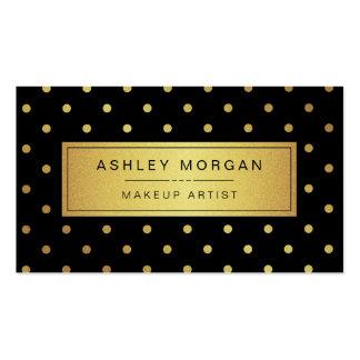 Maquilleur - points noirs d'or blanc carte de visite standard