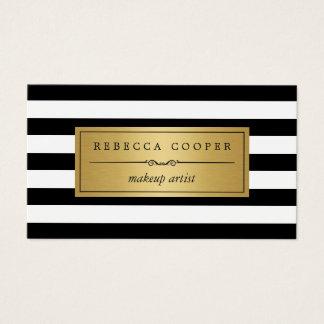 Maquilleur - rayures blanches noires d'or cartes de visite