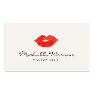 Maquilleur rouge audacieux d'aquarelle de lèvres carte de visite standard