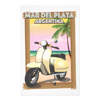 Mar del Plata Argentina beach poster Stationery