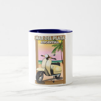 Mar del Plata Argentina beach poster Two-Tone Coffee Mug