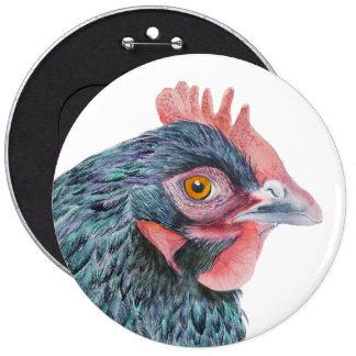 Maran Hen Chicken Bird Watercolor Farm Yard bird 6 Inch Round Button