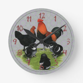 Marans Black Copper Chicken Family Round Clock