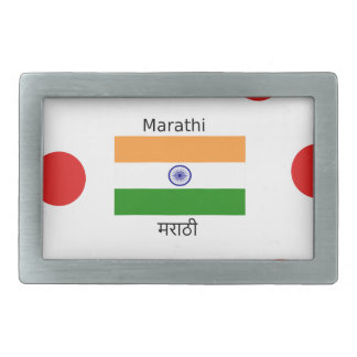 Marathi Language And India Flag Design Rectangular Belt Buckle